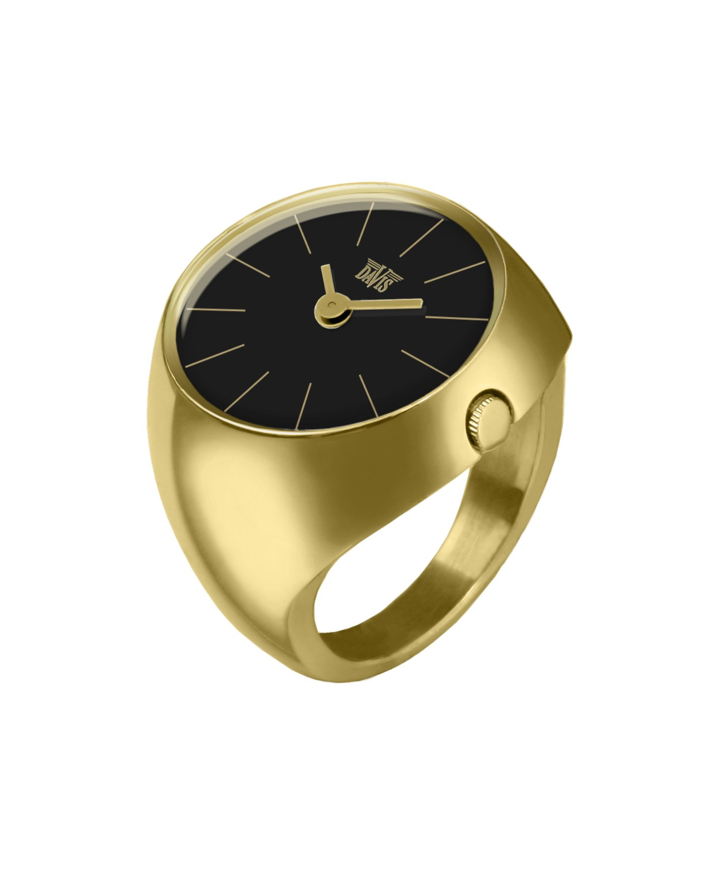Davis 2005L - Womens Finger Ring Watch Yellow Gold Domed Sapphire Glass Black Dial Index baton Size 58 by Davis