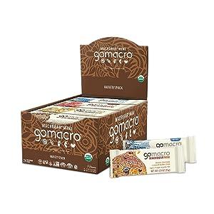 GoMacro MacroBar Mini Organic Vegan Protein Bars - Variety Pack (0.9 Ounce Bars, 24 Count)
