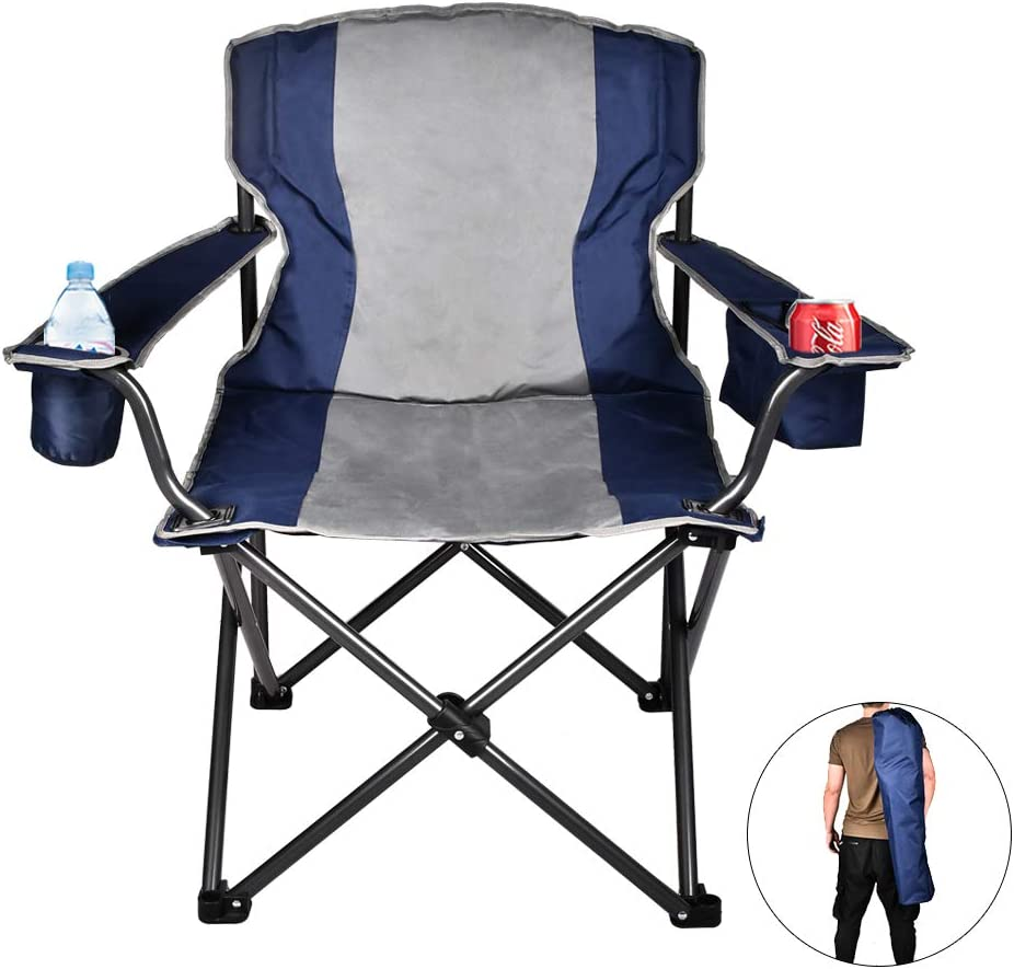 USSerenaY Camping Chair with Cooler Collapsible Steel Frame Carry Bag Oversized Folding Camping Chair Camp Chair for Outdoor Fishing Beach Portable Padded Quad Arm Chair with Cup Holder
