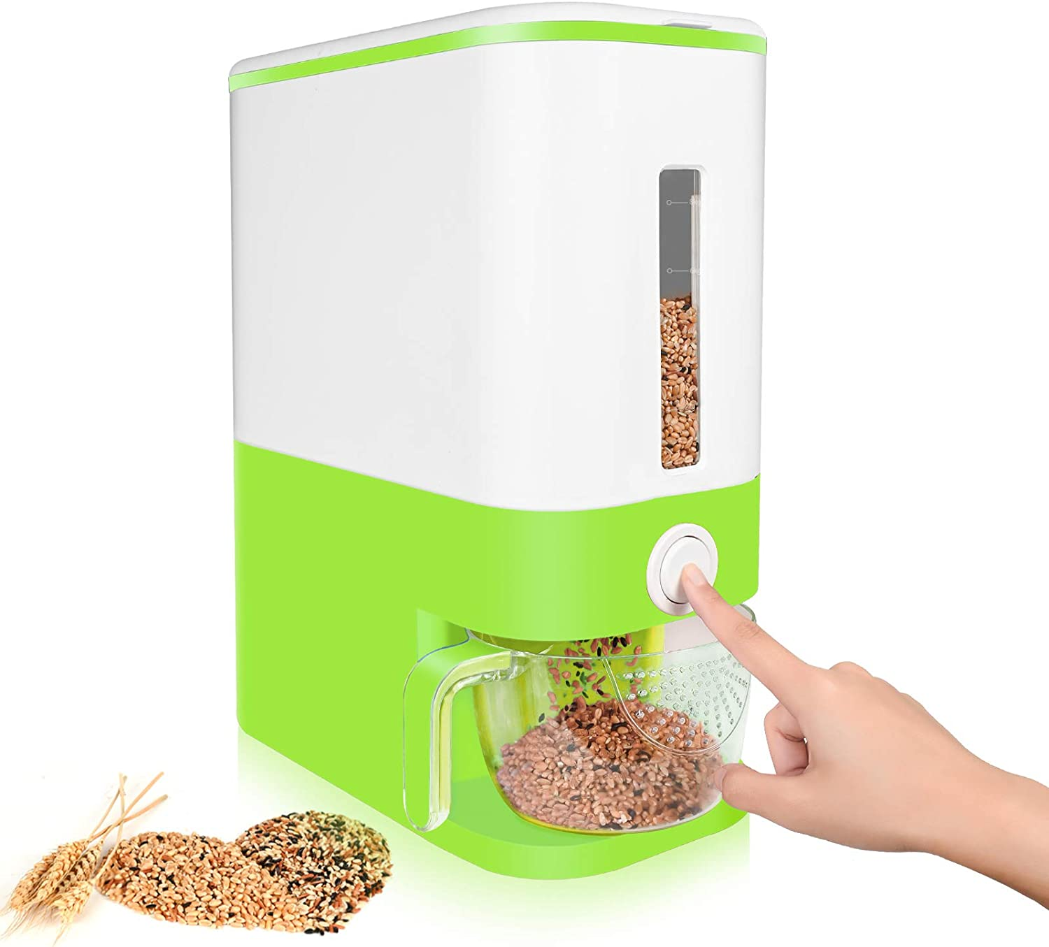 PANGOOD Large Airtight Food Storage Containers, 22.5lbs - Rice Dispenser w/Clear Checking Window - Dry Food Dispenser w/One-Button Access (Green) - Storage Bin w/Measuring Cup - Cereal Dispenser