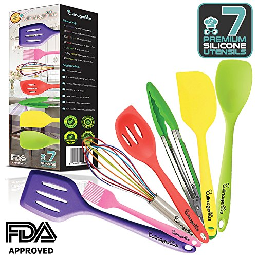 Silicone Utensils for Cooking and Baking featuring 7 Pieces Premiums FDA Approved Turner, Slotted Cooking Spoon, Cooking Spoonula, Baking Spatula, Basting brush, Tong and Baking Whisk by CULINAGENIUS