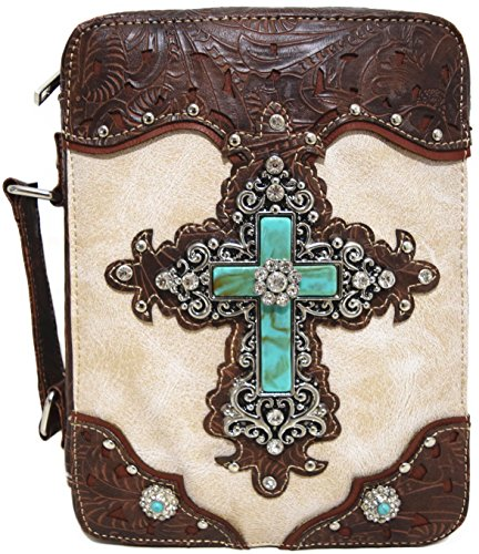 Western Style Bling Rhinestone Cross Country Women's Bible Cover Books Case Removable Strap Messenger Bag (Beige)