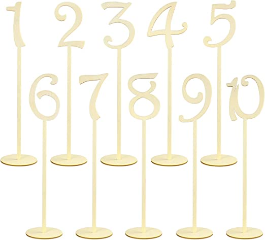 Toyvian 1-10 - Números de mesa de madera con base de soporte ...