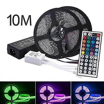 LED Strip Lights Kit, OXOQO Led Tape Light SMD 5050 RGB 600 LEDs Flexible Rope Lights IP65 Water-Resistant Color Changing LED Strips DIY Decoration (10 M)