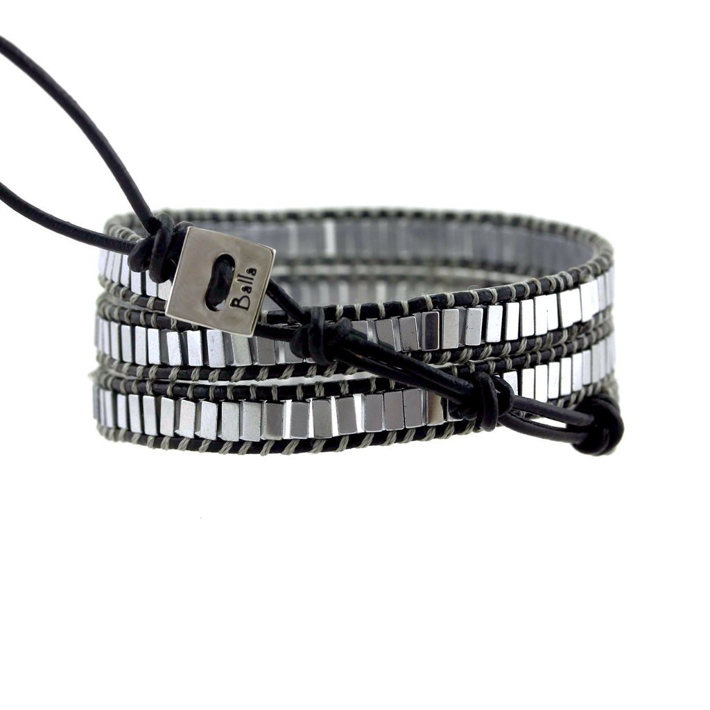 Silver Square Beaded Genuine Black Leather Triple Wrap Punk Style for Men Women Unisex by Balla by Balla (Image #2)
