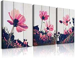 Modern red flower Canvas Prints Bedroom Wall Art for bathroom Wall decor inspirational Artworks wall decorations for living room,3 piece Home decor office decorations,kitchen wall paintings