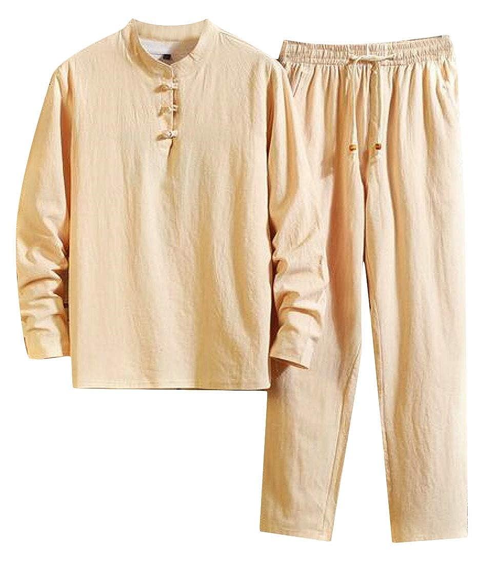 KLJR Men 2 Piece Outfits Solid Cotton Linen Summer Long Sleeve T-Shirt Beach Pants