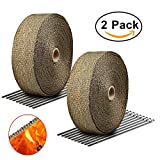 "Exhaust Wrap Titanium RETECK 2""x50Ft Heat Wrap Tap Header Glassfiber for Car Motorcycle + 10 Stainless Ties 2 Pack"