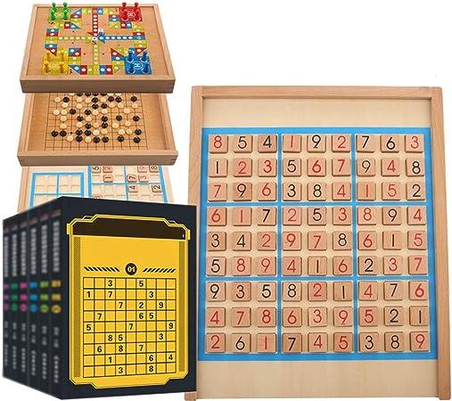 Rompecabezas Juego de mesa con cajón de madera Juguetes educativos Inteligencia de Escritorio Juegos de la familia del rompecabezas del número de juguetes de madera Sudoku Juego de mesa for niños: Amazon.es: