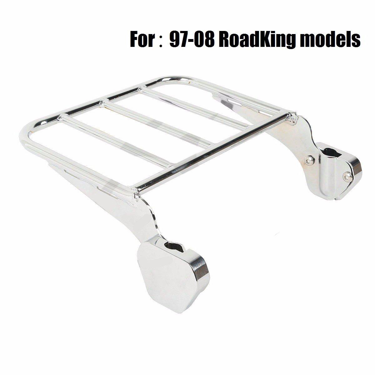 Chromed Rear Luggage Rack For Harley Road King 97-08 FLHT FLHX FLTR FLHTC HAPPY-MOTOR