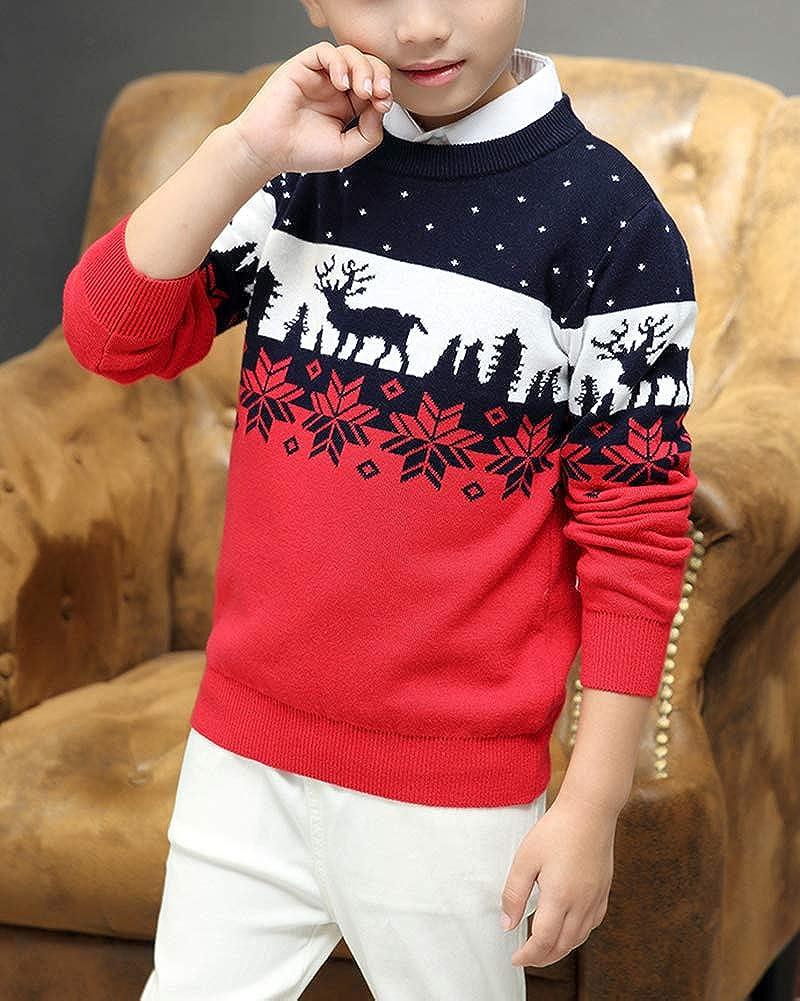 Shengwan Weihnachtspullover Strickjacken Kinder Jungen Gestrickt Strickpullover Warm Lining Sweater Pullis