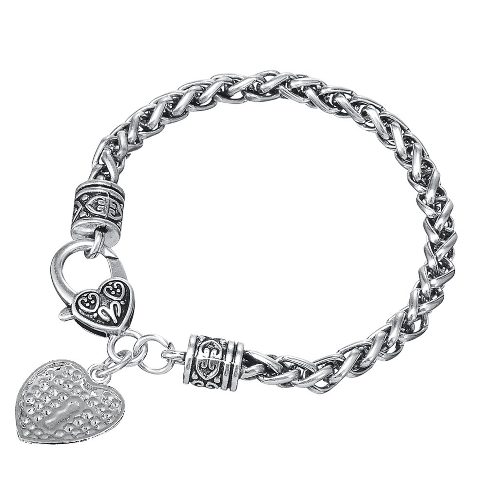 Fashion Crystal Football Sport Heart Shape With Crystal Charm Thick Wheat Chain Bracelet