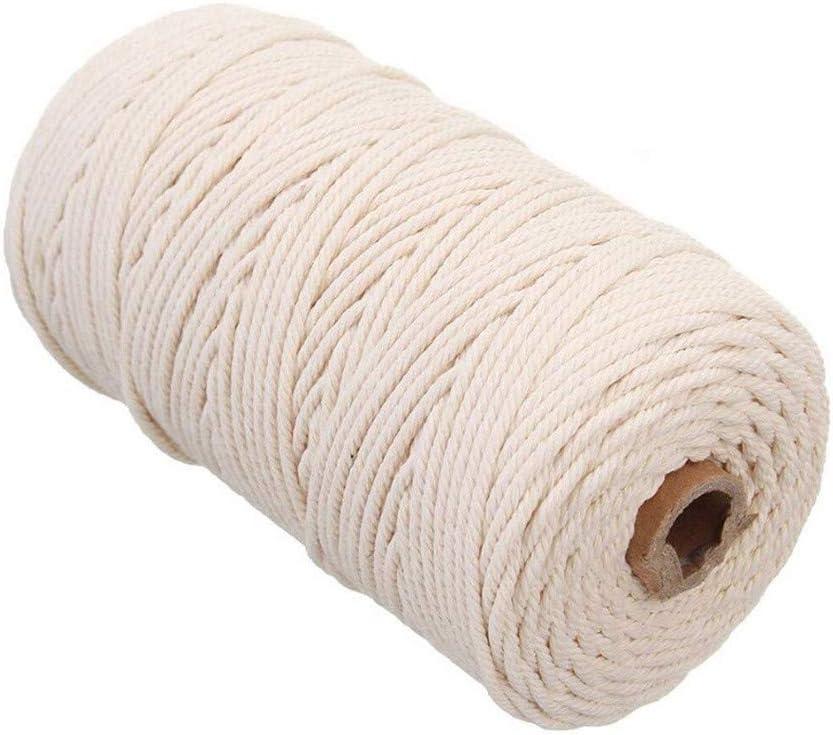 hunpta@ Cuerda de 2 mm x 200 m, Cuerda de algodón, Cuerda de macramé, para Colgar Plantas Hecha a Mano, para Manualidades, Manualidades, Tejer, proyectos Decorativos Cuerda de algodón