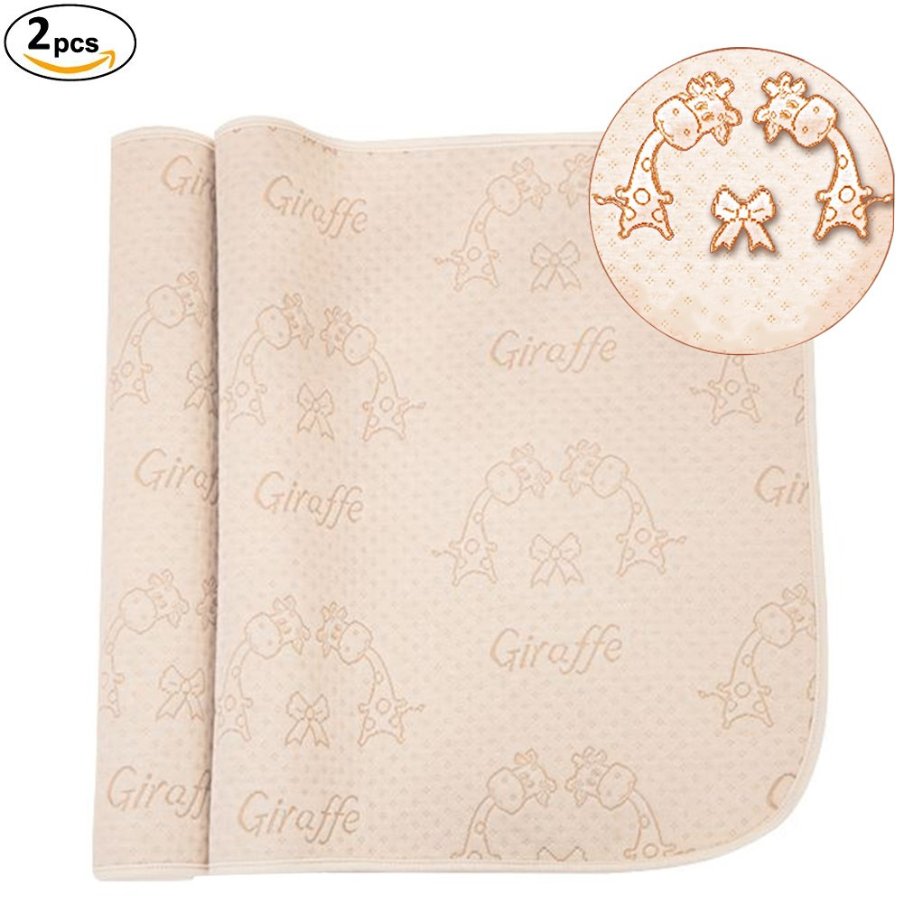 OLizee 2pcs 19.5x27.5 4 Layers Colored Cotton Waterproof Changing Pad For Baby Breathable Absorbent Urine Mat Washable Mattress Pad Sheet Protector (27.519.5 2 pack, Monkey)