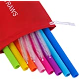 Mcool Silicone Straws 8Pcs Straight Smoothies straws for 30&20OZ tumblers+4 Brushes+1 Red Pouch