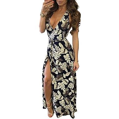 Oops Style Women s Backless Deep V Dress Vintage Floral Print Maxi Dresses 328a18d37