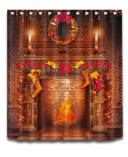 LB Merry Christmas Season Eve New Year Decorative Decor Gift Shower Curtain Polyester Fabric 3D 72x72 Mildew Resistant Warm Gold Luxury Fireplace Stocking Bathroom Bath Liner Set ()