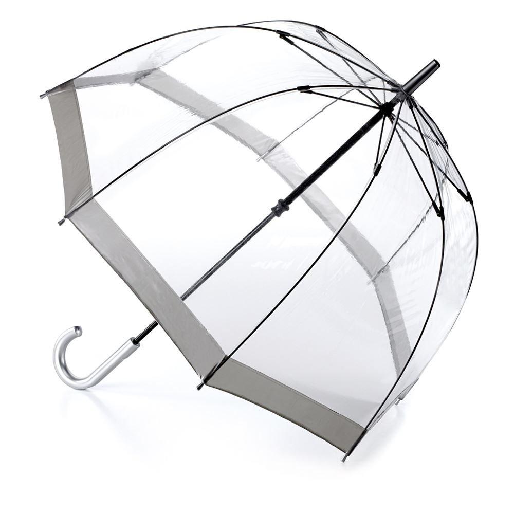 Fulton Birdcage - 1 ombrello chiaro cupola con bordo in argento - Nuovo frame !
