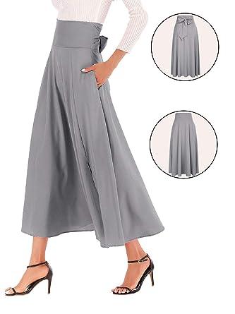 dd8e004e7fb Calvin   Sally Women s High Waist Full Ankle Length A-Line Flared Swing  Skater Skirts