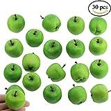 "Supla 30 Pcs Artificial Mini Apples in Green 1.4"" Diameter Christmas Apple for Floral Arrangements Fruit Decorations"