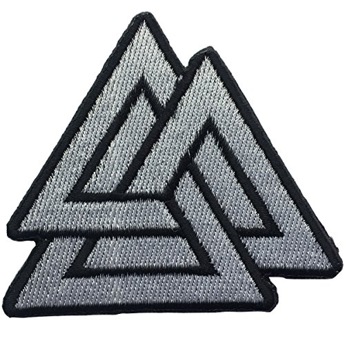 (SpaceAuto Valhalla Valknut Triangle Symbol Nordic Viking Odin Military Tactical Morale Badge Hook & Loop Fastener Patch 2.68