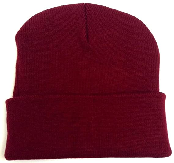 Cuffed or Uncuffed Burgundy Beanie Solid Blank Plain 13 Inches at ... a645efcd37e