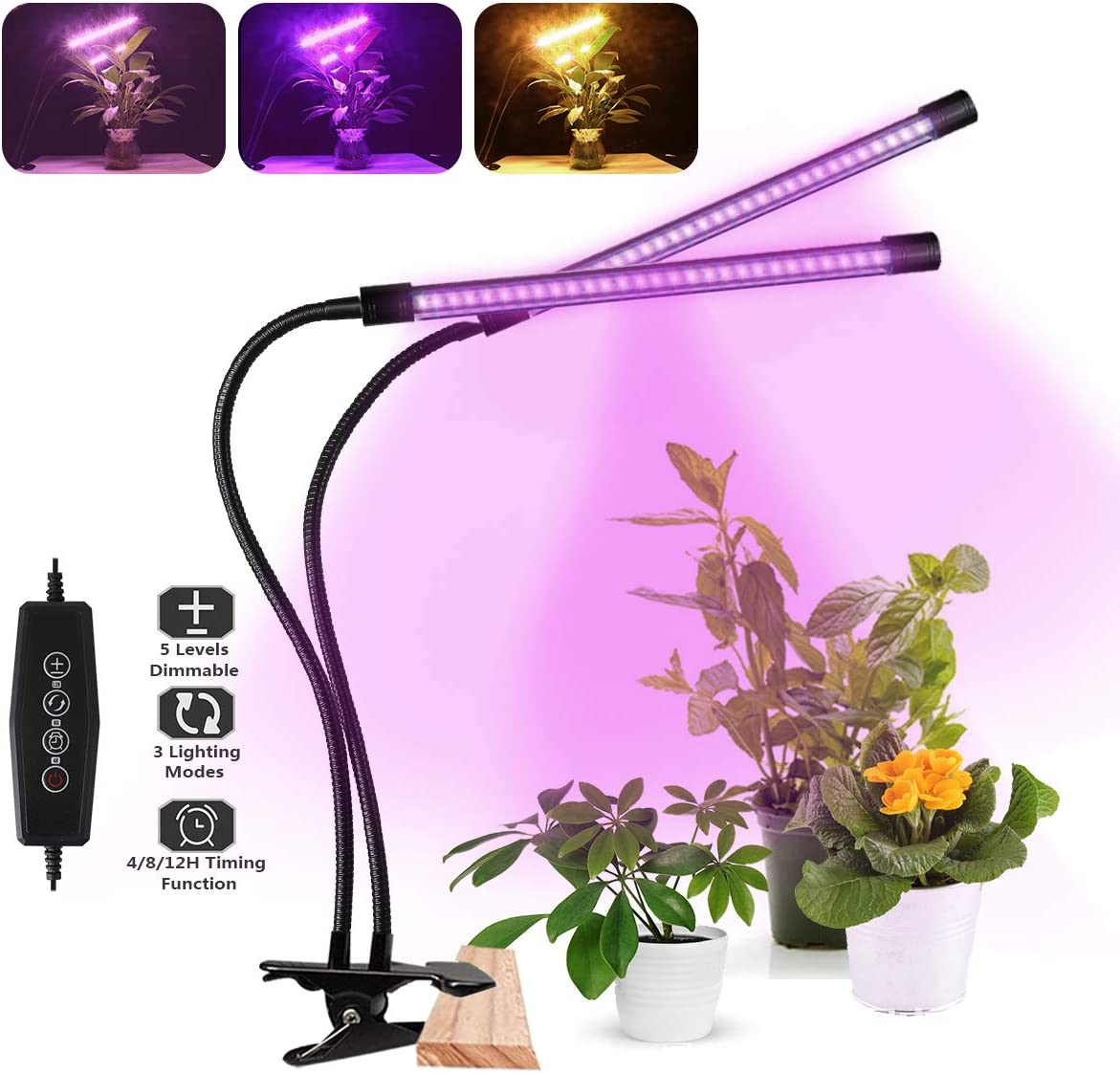 LED Grow Light, Full Spectrum Dual-Head 60 LED 50W Clip-on Plant Light for Indoor Plants Seedlings Succulents,3 Modes 5-Level Dimmable,Auto On Off Timer 4H 8H 12H