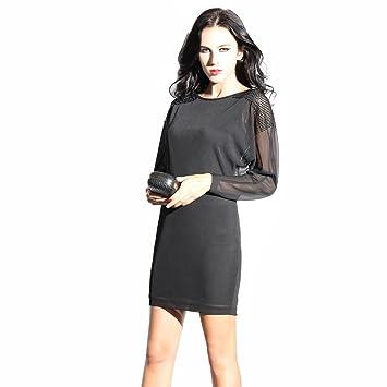 e46c77bf73b OuLu femme Vêtements de sport 2016 Nouveau design Longueur moyenne robe  noire Casual Wear 272281D (
