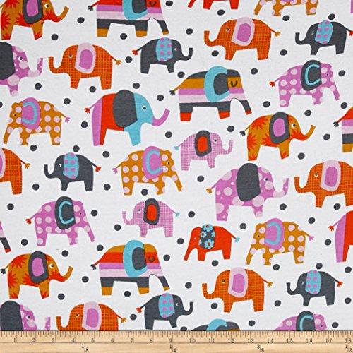 Fabric Merchants Cotton Jersey Knit Elephants Multi, Multicolor