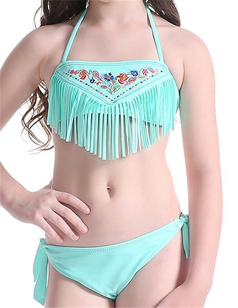 8d4a03453a Amazon.com: Baby Girls Bikini Swimsuit Set Tassel Kids Swimwear ...