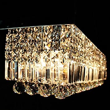 Siljoy L48 X W10 X H10 Rectangle Clear K9 Crystal Ceiling Light Fixture Black Finish Modern Pendant Lighting