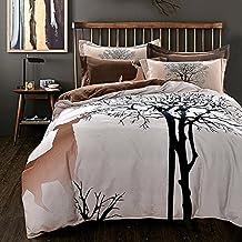 Mysterious Designer Bedding Comforter Set,100% Cotton Sanding Fabric Bedding,Deer And Tree Comforter Pillowcases Bedspread,Twin Queen King Size (US TWIN)