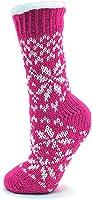 Mesdames Chunky Knit motifs Slipper Socks EUR 36-39 Rouge