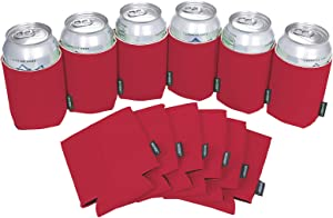 Koozie Can Cooler Blank Neoprene Beer Coozie for Cans, Bulk DIY Insulated 12oz Beverage Holder Personalized Gifts for Events, Bachelorette Parties, Weddings, Birthdays - Pack of 12 Sleeves (Red)