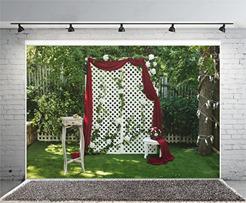 Laeacco Beautiful Wedding Ceremony Decor Park Background 10x6.5ft Rural Garden White Square Shaped Decorative Arch Red Curtain Flower Bouquet Flash Ligh Twining The Tree Artistic Studio Props