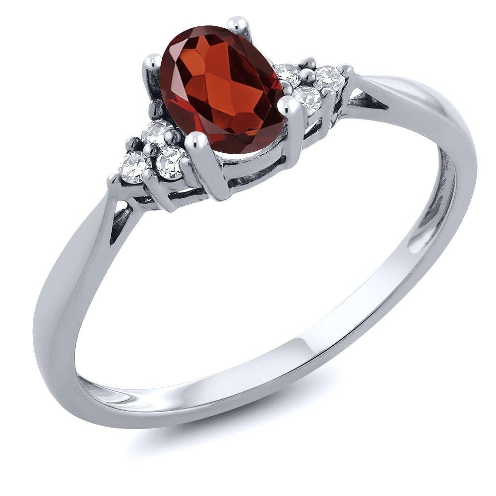 Gem Stone King 14K White Gold Red Garnet and Diamond Women's Ring 0.56 cttw (Size 9)