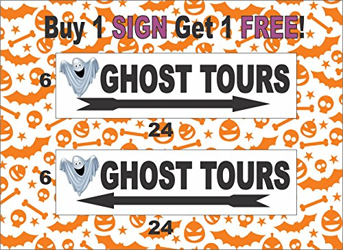 2-6x24 Ghost Tours with Arrow Directional Signs Haunted Woods Halloween