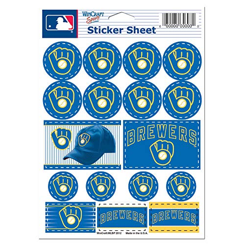 (WinCraft MLB Milwaukee Brewers 27171012 Vinyl Sticker Sheet, 5