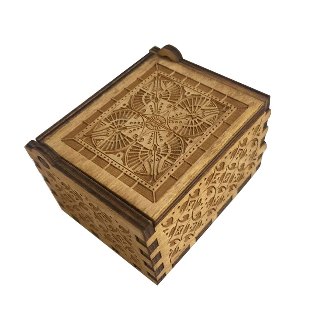 FORUSKY Hand Cranking Carved Game of Thrones Wood Music Box for Home Decoration Crafts,Toys,Gift