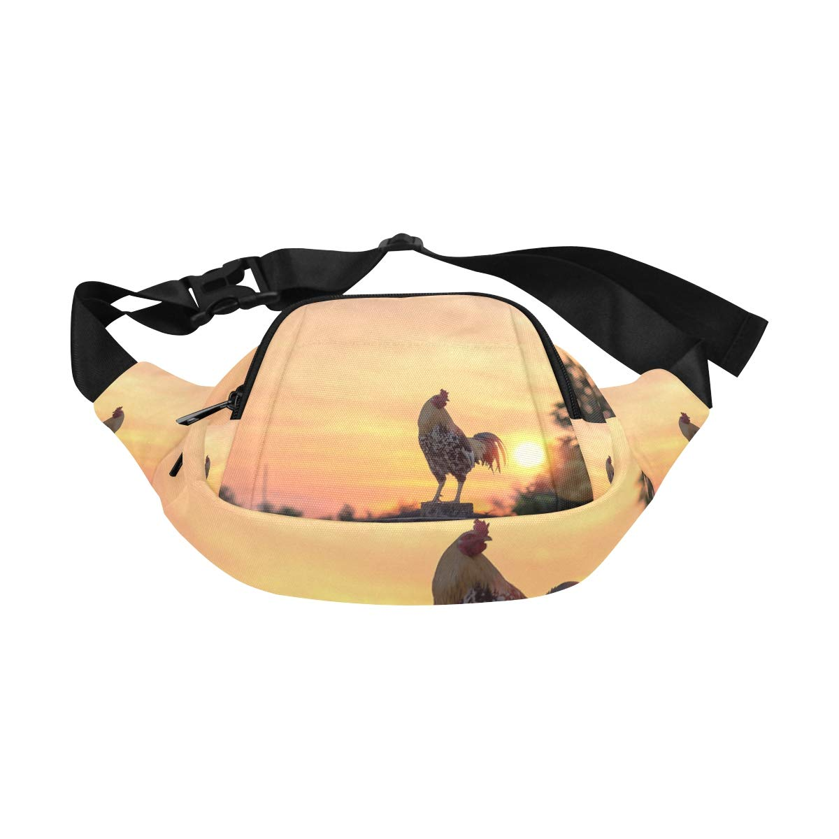 Colorful Rooster In The Grassland Fenny Packs Waist Bags Adjustable Belt Waterproof Nylon Travel Running Sport Vacation Party For Men Women Boys Girls Kids