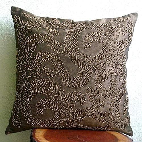 The HomeCentric Handmade Brown Euro Pillowcases 26×26 inch 65×65 cm , Silk Euro Pillow Shams, Nature Floral, Ivy, Beaded, Tropical European Sham Pillow Covers – Brown Gold Ivy