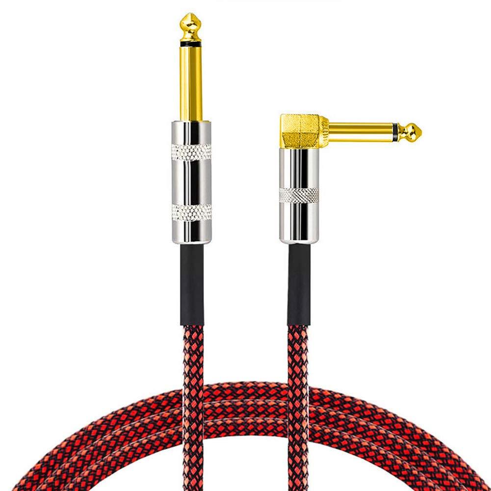 Sguan-wu 300cm Cable de guitarra eléctrica Cable de bajo Recto Enchufe de ángulo recto Línea de instrumentos - Rojo + Negro 300cm: Amazon.es: Instrumentos ...