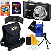 Nikon COOLPIX A100 20.1 MP Digital Camera with 5x Zoom NIKKOR Lens & 720p HD Video (Black) - International Version (No Warranty) + 7pc 8GB Accessory Kit w/ HeroFiber Ultra Gentle Cleaning Cloth