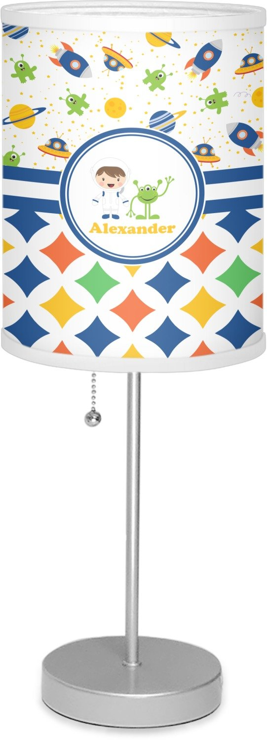 RNK Shops Boy's Space & Geometric Print 7'' Drum Lamp with Shade Polyester (Personalized)