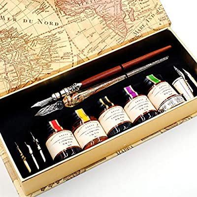 GC QUILL MU-02 Calligraphy Pen Set, Glass Dip Pen and Handcrafted Wooden Dip Pen Gift Set with 5 Colors Calligraphy Ink 6 Nibs 1 Pen Holder, Calligraphy Set for Beginners