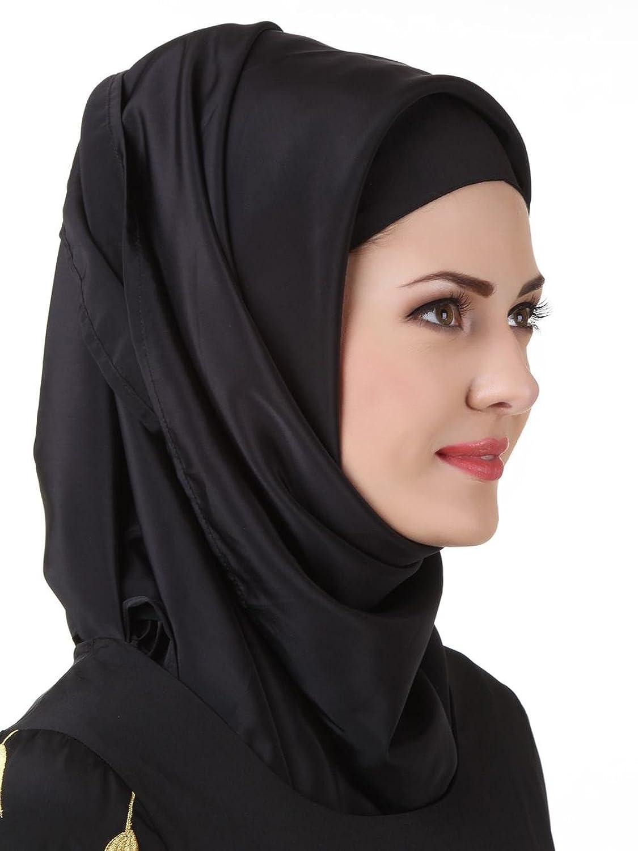 MyBatua Black Crepe Fancy Hijab,al-amira,muslim attire,Prayer, Hajj Wear HJ-073