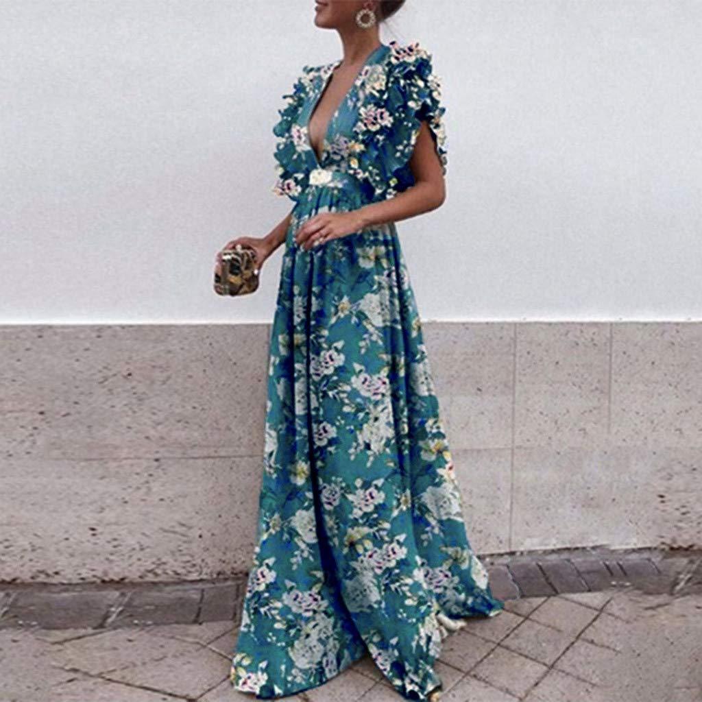 e8e0829960c Amazon.com  Toimothcn Women Vintage Fly Sleeve Backless Deep V-Neck Long  Wedding Evening Party Maxi Dress Plus Size ...  Clothing