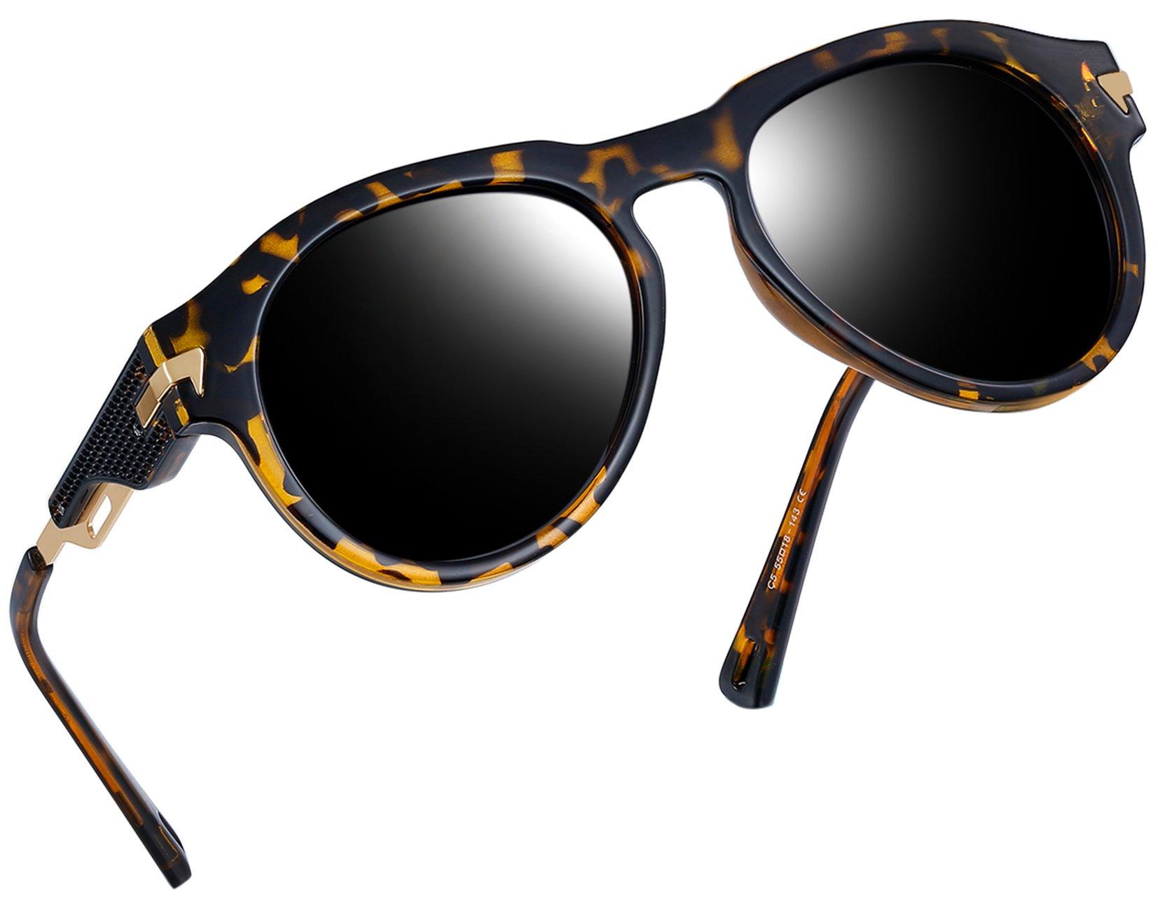 Vintage Polarized Sunglasses Women Men Brand Designer UV400 Sun Glasses (Leopard)