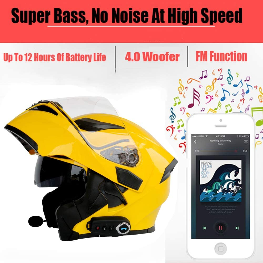 Casques de moto modulaires Certification Bluetooth 63~64CM FM DOT Basculez les casques de tourisme Casque Bluetooth int/égr/é /à deux haut-parleurs avec microphone pour r/éponse automatique,Jaune,2XL