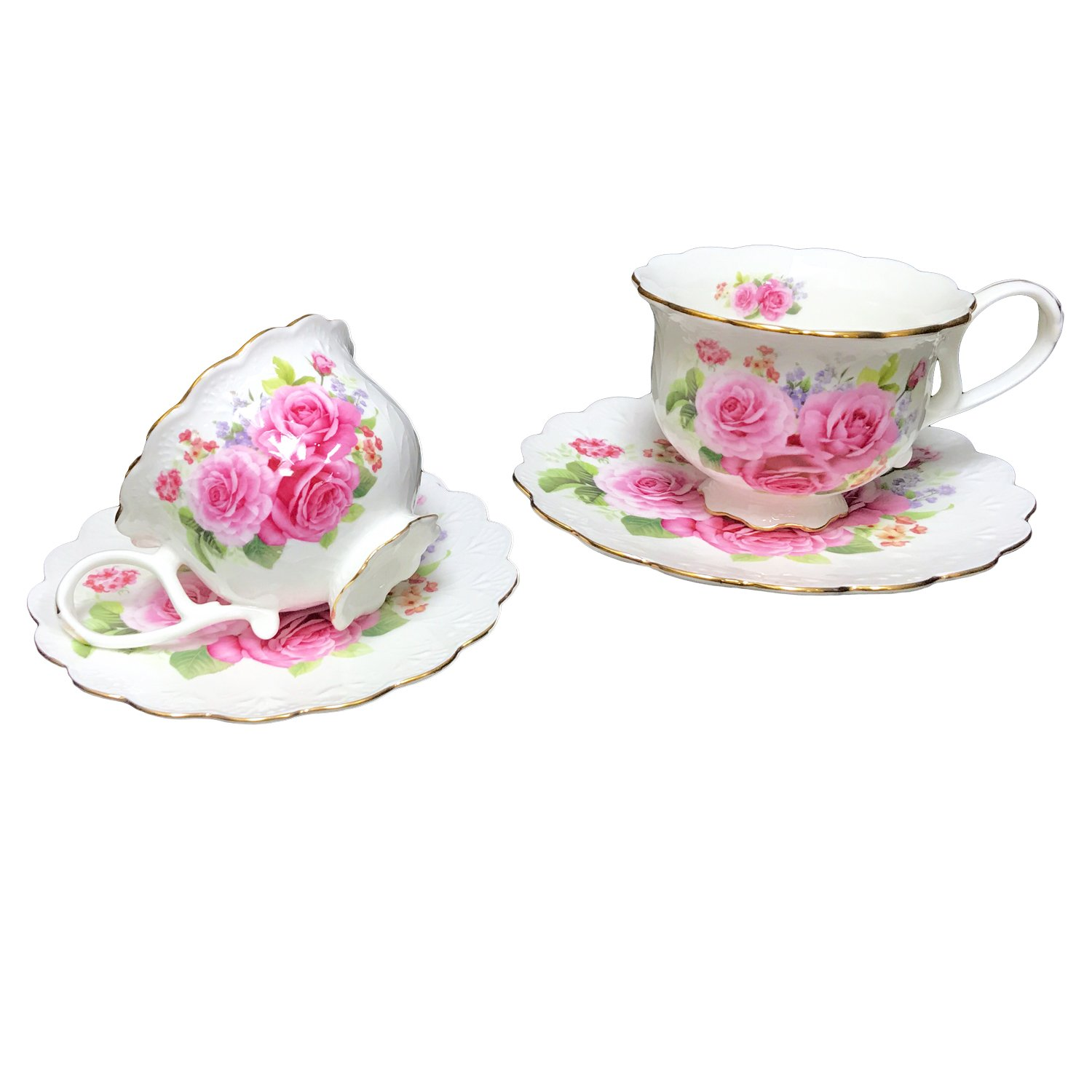 Hampstead Collection Pink Roses 8-Ounce Porcelain Tea Cups and Saucers, Set of 2 Homestead Heath